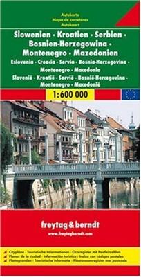 Slovenia, Croatia, Serbia-Montenegro, Bosnia-Hercegovina, Macedonia Road Map (Map)
